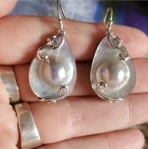 Pearl Earrings Sterling Silver Tear Drop